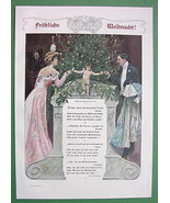 MERRY CHRISTMAS You Family Cupid  + German Poem - VICTORIAN Era Color Print - $16.81