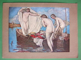 NUDE bathing Girl in Boat Surprised - COLOR Ant... - $22.18