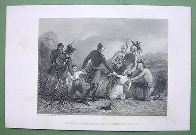 US HISTORY Mexico Campaign Gen Wool Save Family - 1840 Original Print Engraving