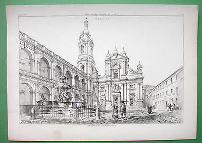 ARCHITECTURE PRINT 1850s : Italy Piazza at Loretto Loreto