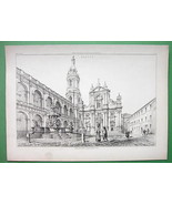 ARCHITECTURE PRINT 1850s : Italy Piazza at Lore... - $43.56