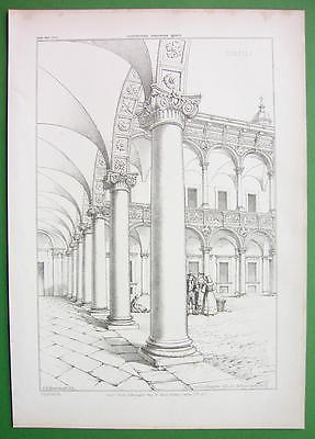 ARCHITECTURE PRINT 1850s : Italy Milan Curtyard of Ospeda le Maggiore