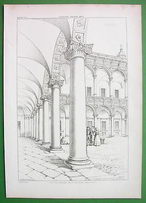 ARCHITECTURE PRINT 1850s : Italy Milan Curtyard of Ospeda le Maggiore
