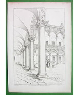 ARCHITECTURE PRINT 1850s : Italy Milan Curtyard... - $29.70