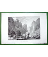 ALPS France Scenery in Valley of River Romanche - SCARCE 1836 Antique Print - $24.70
