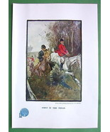 HUNTERS on Horses FIrst in Field - 1907 Old Pri... - $5.54