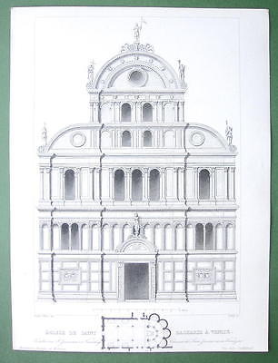 ARCHITECTURE PRINT : Italy Venice CHurch of Saint Zachary Engraving