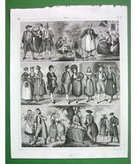 COSTUMES Baden Rhine Bavaria German Germany - 1844 SUPERB Antique Print - $21.78