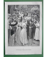 CHRISTMAS RAFFLE Ladies in Fine Dresses Fans - VICTORIAN Era Original En... - $16.81