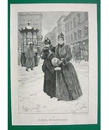 CHRISTMAS SHOPPING Ladies in Big City - VICTORIAN Antique Print - $11.87
