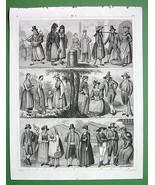 COSTUMES Austria Czech Styria Illyria Germany - 1844 SUPERB Antique Print - $21.78
