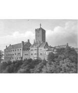 GERMANY Wartburg Castle - 1860s Antique Engravi... - $33.66
