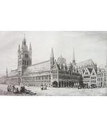 ORIGINAL ETCHING PRINT - Belgium Ypres Town or Cloth Hall - $43.56
