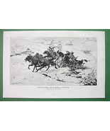WINTER Snow Joy Ride Villager in Horse Cart - Victorian Antique Print - $17.82