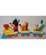 Engineer Mickey Mouse Train 1980's Pluto Donald Duck Wind-Up Toy - Not W... - $19.15
