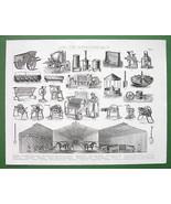 FARMING Stalls Fodder Manure Machinery - 1870 A... - $17.82