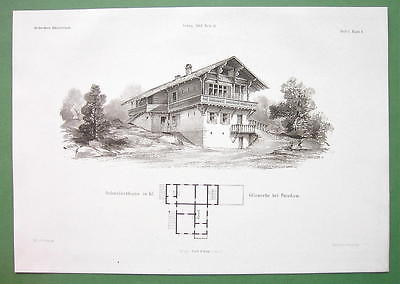 ARCHITECTURE PRINT : Potsdam Glienecke Hunting Lodge Villa in Swiss Style