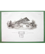 ARCHITECTURE PRINT : Potsdam Glienecke Hunting Lodge Villa in Swiss Style - $34.64