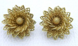 VTG MIRIAM HASKELL Gold Tone Ornate Openwork Flower Clip Earrings - $74.25