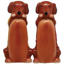 Cute Hot Dogs Handpainted Ceramic Salt And Pepper Shaker Set - $12.86
