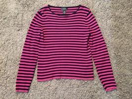 Lauren Ralph Lauren Women's Cotton Blue And Pink Striped Ribbed Shirt, S... - $29.99