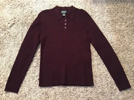 Lauren Ralph Lauren Women's Cotton Brown Ribbed Shirt, 1/4 Button, Sz L - $36.99