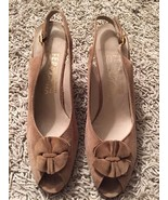 Women's Ferragamo Tan Suede Sling Back Shoes, Sz 6 - $59.99