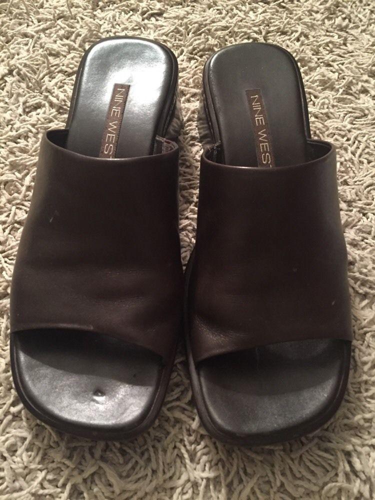 f6269428288 S l1600. S l1600. Previous. Nine West Women s Brown Leather Wedge Heels  Slides Sandal Shoes
