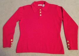 Talbots Womens Red 100% Merino Wool W/collar Long Sleeve Sweater, Size M - $23.00