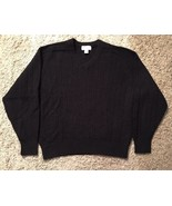 Women's Heather Tweed Black 100% Shetland Wool V-neck Sweater, Size L - $26.99