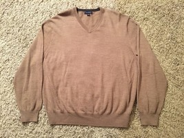 Men's Club Room 100% Merino Wool V-Neck Brown Sweater, Size L - £18.40 GBP