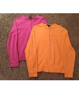 Lot Of 2 Women's Lands End Button-up Sweaters, Size S, Orange & Pink - $32.99
