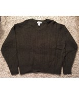 Women's Heather Tweed Green 100% Shetland Wool V-Neck Sweater, Size L - $26.99