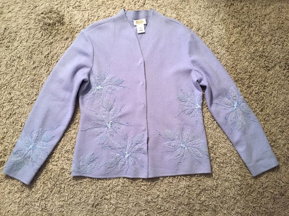 Primary image for Women's Talbots 100% Wool Blue Cardigan Sweater W/ Floral Designs, Size M