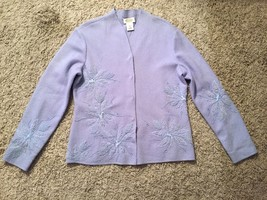 Women's Talbots 100% Wool Blue Cardigan Sweater W/ Floral Designs, Size M - $34.99