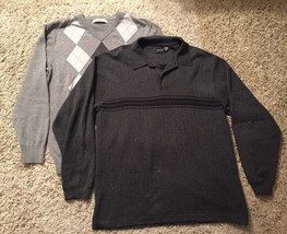 Lot Of 2 Cotton Gray Checkered Sweaters (arrow & old navy), Size L - $24.99