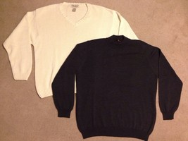 Lot Of 2 Mens Large Sweaters Toscana And Eddie Bauer (1 Wool, 1 Cotton) - $37.50