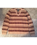 Lauren Ralph Lauren Women's 100% Lambswool Tan/Brown Sweater, Size L - $36.99