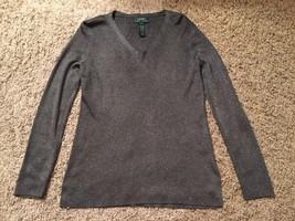 Lauren Ralph Lauren Women's Metallic Acetate/Viscose/Metallic LS Shirt, ... - $36.99
