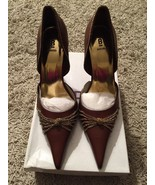 "NIB Womens Brown Leather Uppers Bakers Cameron, Gold Chain, 4"" Heels, Si... - $39.99"