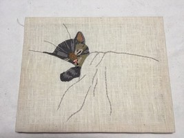 Handmade Embroidered Cat Sleeping - $29.99