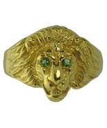 New Lion Ring Sterling Silver Jewelry Cat 24kt Gold Plated Emerald eyes ... - $46.52