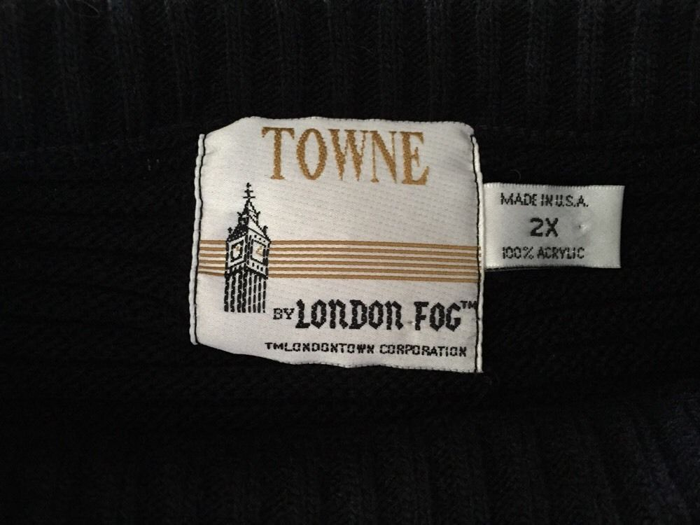 Mens Towne 100% Acrylic Black Sweater, Size 2X, Made In USA By London Fog
