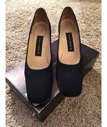 Women's Evan-Picone Q-Optimist2 Navy Crepe Heels, Size 8.5N, Made In Spain - $34.99