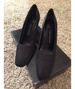 Women's Evan-Picone Q-Bahia Black Fabric Heels, Sz 8.5N, In Box, Made In... - $34.99