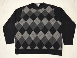 Men's Geoffrey Beene Gray Checked 100% Lambswool Sweater, SizeXXL/XXG - $34.95