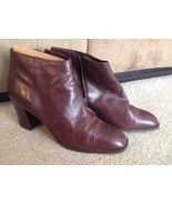Womens Nine West Brown Leather Bootie, Size 10.5 M, High Heel - $29.99