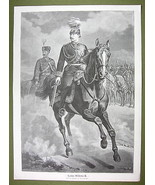 "EMPEROR WILLIAM Riding Horse Uniform - VICTORIAN Era Engraving Print 15""... - $24.70"