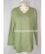 Jessica Holbrook Luxury Blend Vneck Tunic Sweater Small Green from QVC - $19.33