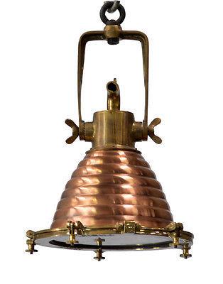 Vintage Style Marine Copper and Brass Medium Wiska Pendant Light,13'' x 19''H.
